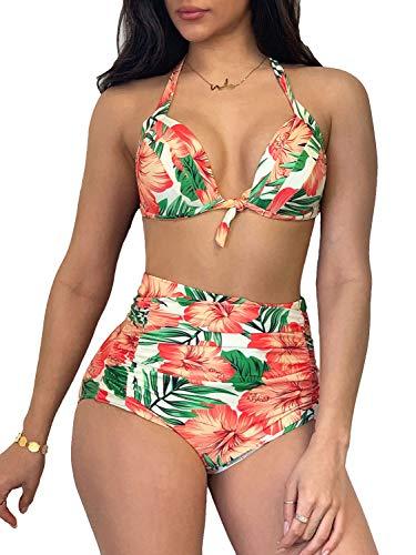 Saodimallsu Womens Retro 50s Halter Bikini Set Floral Print Full Bust Supportive 2 Piece Swimsuit Yellow