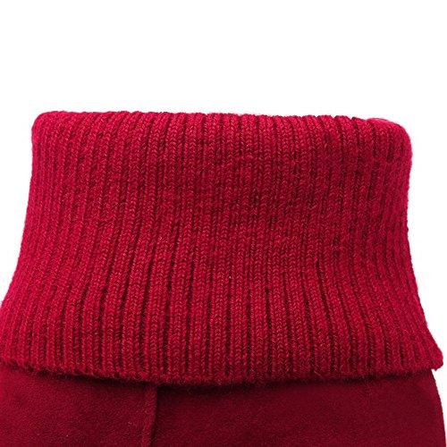 Allhqfashion Mujer's Imitated Suede Solid Pull En Botas De Tacón Alto Redondo Cerrado, Rojo, 35