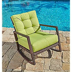 Suncrown Outdoor Furniture Lime Green Patio Rocking Chair | All-Weather Wicker Seat with Thick, Washable Cushions | Backyard, Pool, Porch | Smooth Gliding Rocker with Improved Stability