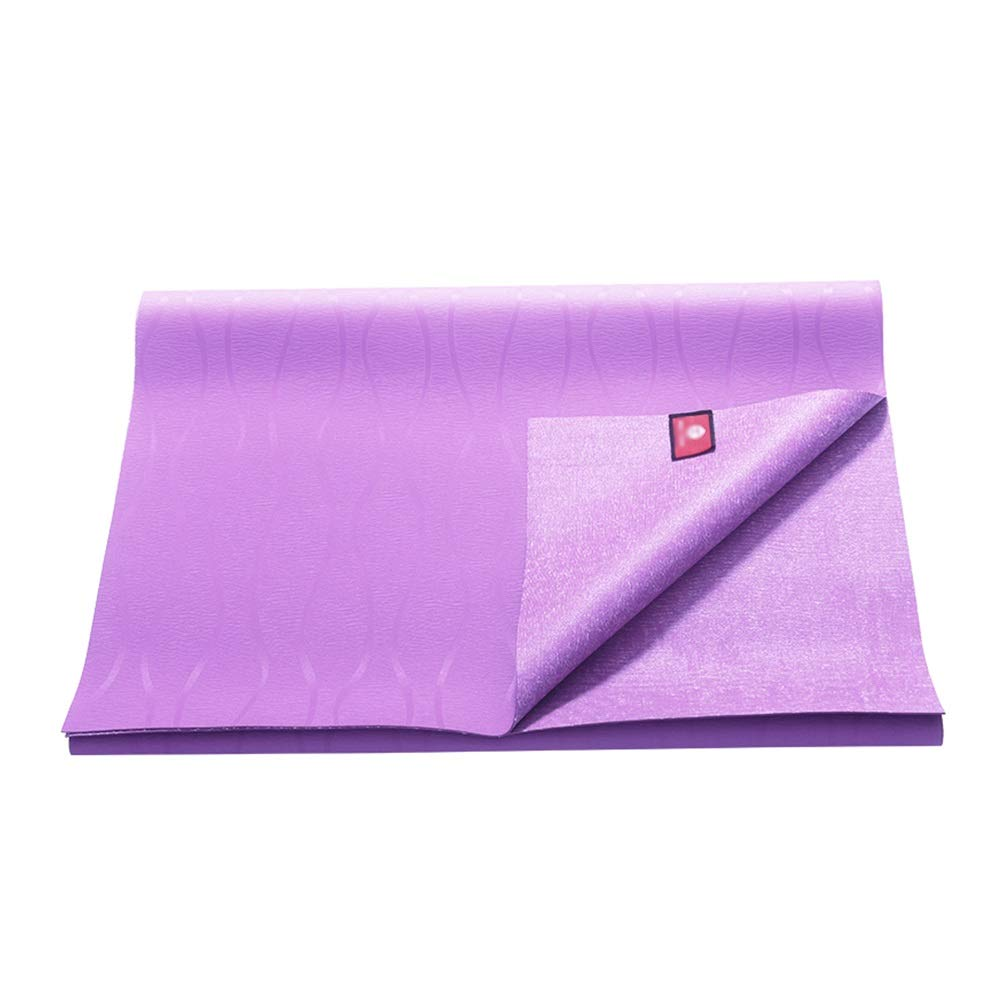 XF ヨガ マット ヨガマット - 天然ゴム、1.5 mm、滑り止め、環境に優しい、薄い男性用および女性用ヨガマットトラベルパッド折りたたみパッド、サイズ:180cmX66cm フィットネストレーニング (色 : 紫の)  紫の B07MP4QNJB