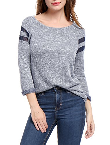 Allegra K Women's Mesh Panel Raglan Sleeves Scoop Neck Top XL Blue