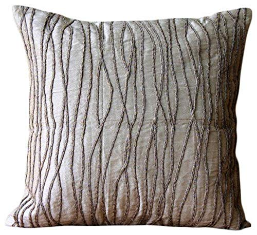 - The HomeCentric Luxury Beige Decorative Pillows Cover, Jute Cord Throw Pillows Cover, 20