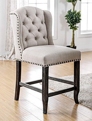 Furniture of America FA-CM3324BK-PCW-2PK Counter Height Chairs Antique Black, Ivory