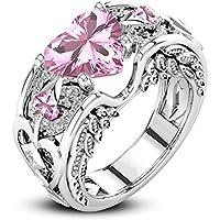 Princess 925 Silver Pink Sapphire Gem Birthstone Wedding Engagement Heart Ring (10)
