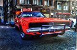 General Lee (front view) Movie Set Car, HDR Photography by Leo Czerniak Metal Sign