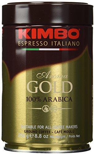 Coffee Ground Gold - Kimbo Espresso Coffee Italiano Aroma Gold 100% Arabica 3 Cans