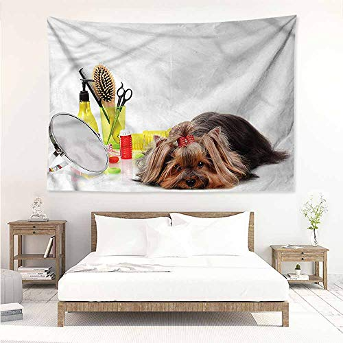 Sunnyhome Living Room Tapestry,Dog Lover Cute Yorkshire Terrier,Tapestry for Home Decor,W80x60L