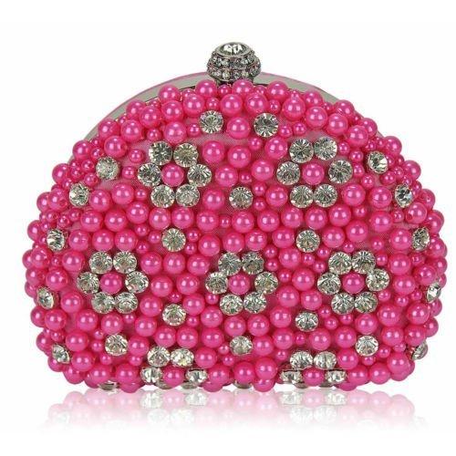 Women Pearl Beaded Rhinestone Clutch Bag Prom Party Wedding Handbag