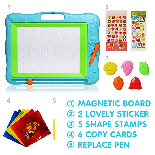 51nukDUN1UL - JOYNOTE Large Magnetic Drawing Board for Kids, Colorful Magnet Writing Sketching Pad,Education Toys for Toddlers Learning with 5 Shape Stamps,6 Copy Cards,1 Replacement Pen and 2 Lovely Sticker