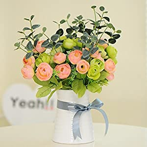 Situmi Artificial Fake Flowers Camellia Pot Plants and Pink Green Home Accessories 35
