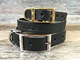 Personalized Black Leather Dog Collar with FREE Name, Pick Your Font