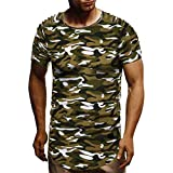 Summer Pleated Short-Sleeved T-Shirt,Fashion Men Top O Neck Casual Slim Blouse Camouflage