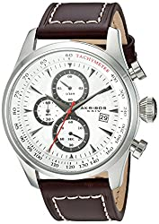 Akribos XXIV Men's Quartz Silver-Tone Case with White Sunray Dial with Silver-Tone Hands on Brown Genuine Leather Strap AK915SS