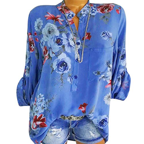 2019 Women Loose Floral Print Blouses Tops Spring Long Sleeve V-Neck Casual Shirts Streetwear 5XL,Blue,XXL