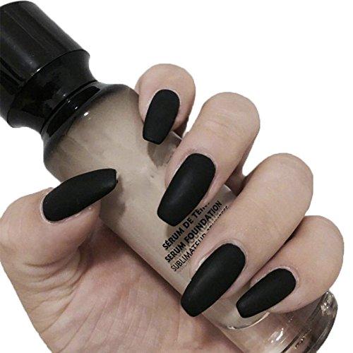 JINDIN Black Matte French Fake Nails Pre Design Long Fake Nail Full Cover for Women Salon Home Manicure Art 24 pcs/set ()