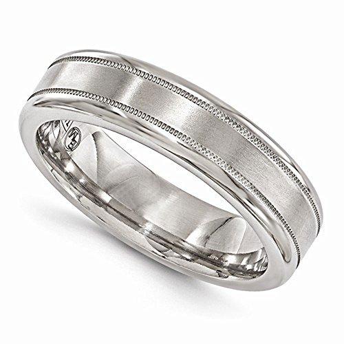 Edward Mirell Satin and Polished Titanium Milgrain 6mm Wedding Band - Size 11 by Edward Mirell