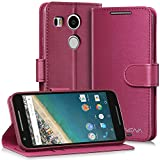 Vena [vSuit] Google Nexus 5X Wallet Case - Draw Bench Faux Leather Snap Case Cover with [Card Pockets] for Google Nexus 5X (Burgundy Red)