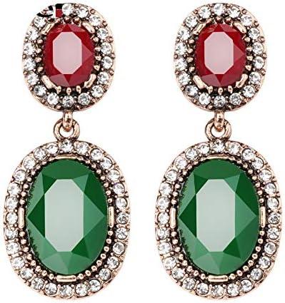 Joyería para las mujeres pendientes colgantes con piedras de oro antiguo verde resina verde blanco Rhinestones oval big pendientes