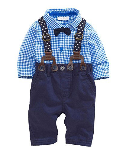Baby Boys' Plaid Romper with Hat Short Sleeve Shortall (0-6M(70), blue)