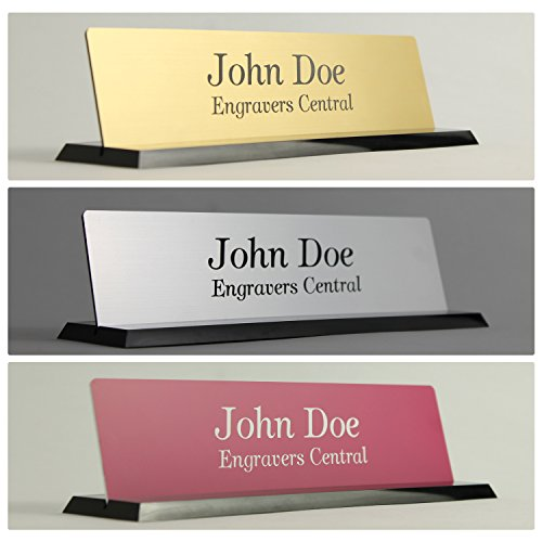 Personalized Office Desk 2x8 Name Plate with Rounded Corners - (Over 21 Color Options Available) - on a Beautifully Designed Black Molded Base With Beveled Edges - Customized (Spot-runde)