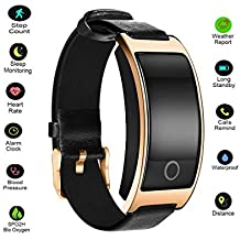 Hangang Fitness Tracker Smart Bracelet Sport tracker Activity Wristband Intelligent Watch health Tracker Heart Rate Blood Pressure Oxygen Monitor For IOS And Android Phone Business Type CK11S (gold)