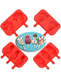 CheckOut 4 Packs Silicone Ice Pop Molds, IC ICLOVER BPA Free FDA Approved Non-stick DIY Ice Cream Bar Mould Popsicle Maker lowestprice