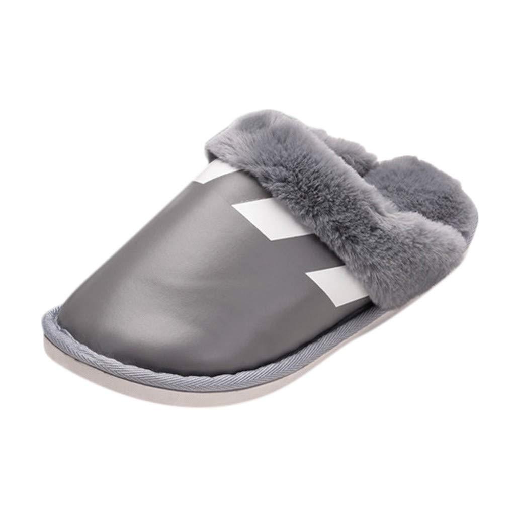 Meigeanfang Women Plush Slippers Winter PU Short Plush Warm Comfy Solid Color Flat Flip Flop Anti-Skid Sole (Gray,8.5 US) by Meigeanfang