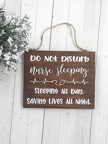 "WoodenSign Nurse Gift, Gift for Nurse, Do Not Disturb, Door Sign, Nurse Sleeping, Night Shift Nurse, Sleeping Nurse, Nurse Decor, Door Hanger 7"" x 9"""