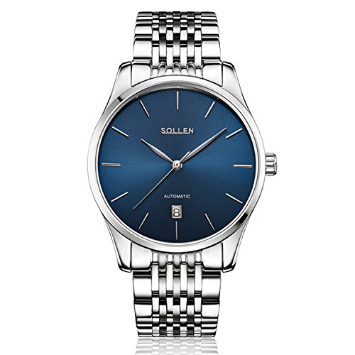 Transparent Dial Faux Leather Wrist Watch (Blue) - 7