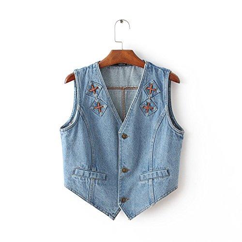 トレーダー細分化する差別化するSNHUATONG 女性デニムカラーベストレディースノースリーブ衣類ボタンタイスタンドカラー