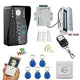 MOUNTAINONE HD 720P Wireless WIFI RFID Password Video Door Phone Doorbell Intercom System Night Vision + Electric Magnetic Door Lock 180KG+Waterproof Access Control System