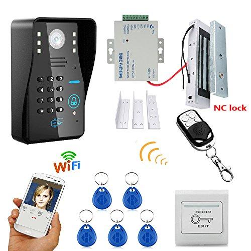 MOUNTAINONE HD 720P Wireless WIFI RFID Password Video Door Phone Doorbell Intercom System Night Vision + Electric Magnetic Door Lock 180KG+Waterproof Access Control System by MOUNTAINONE