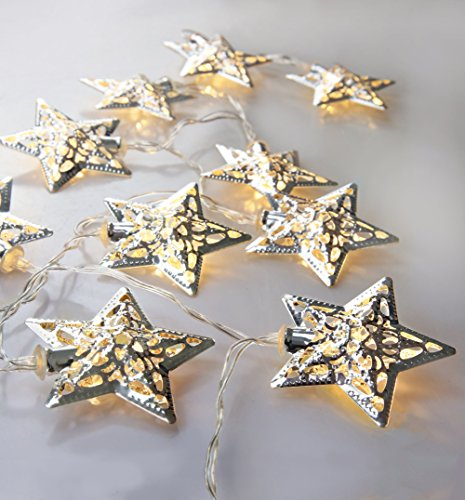 Velice Battery Operated Warm White LED Fairy Lights 10 Metal Star String Decoration Light for Festival Halloween Christmas Party Wedding (Silver) (Star String Lights For Bedroom)