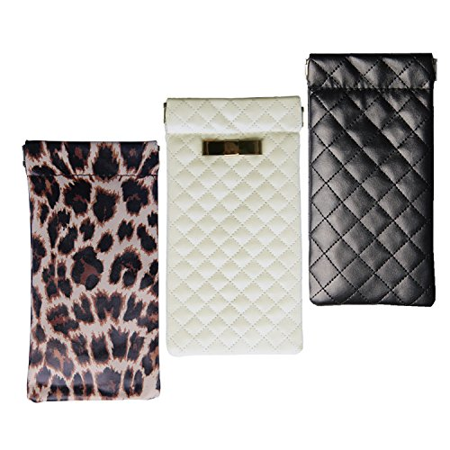 UPC 709889407060, Lucky Leaf Sunglasses Goggles Pouch Case Women Eyeglass Holder with Cleaning Cloth (Black Square+Leopard+White)