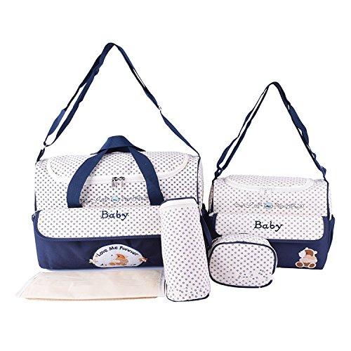 BigForest 5pcs/set Multifunction Baby Diaper Bag Nappy Changing Pad Large Capacity Travel Mummy Bag Tote Handbag Set Blue