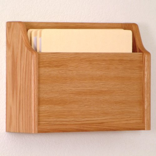 DMD Deep Pocket Letter Size Wood Chart or File Holder, Square Bottom, Single Pocket, Wall or Desktop, Light Oak