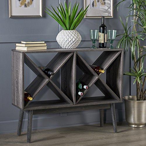 Britney Mid Century Modern Sonoma Grey Oak Finished Faux Wood Bar Cabinet