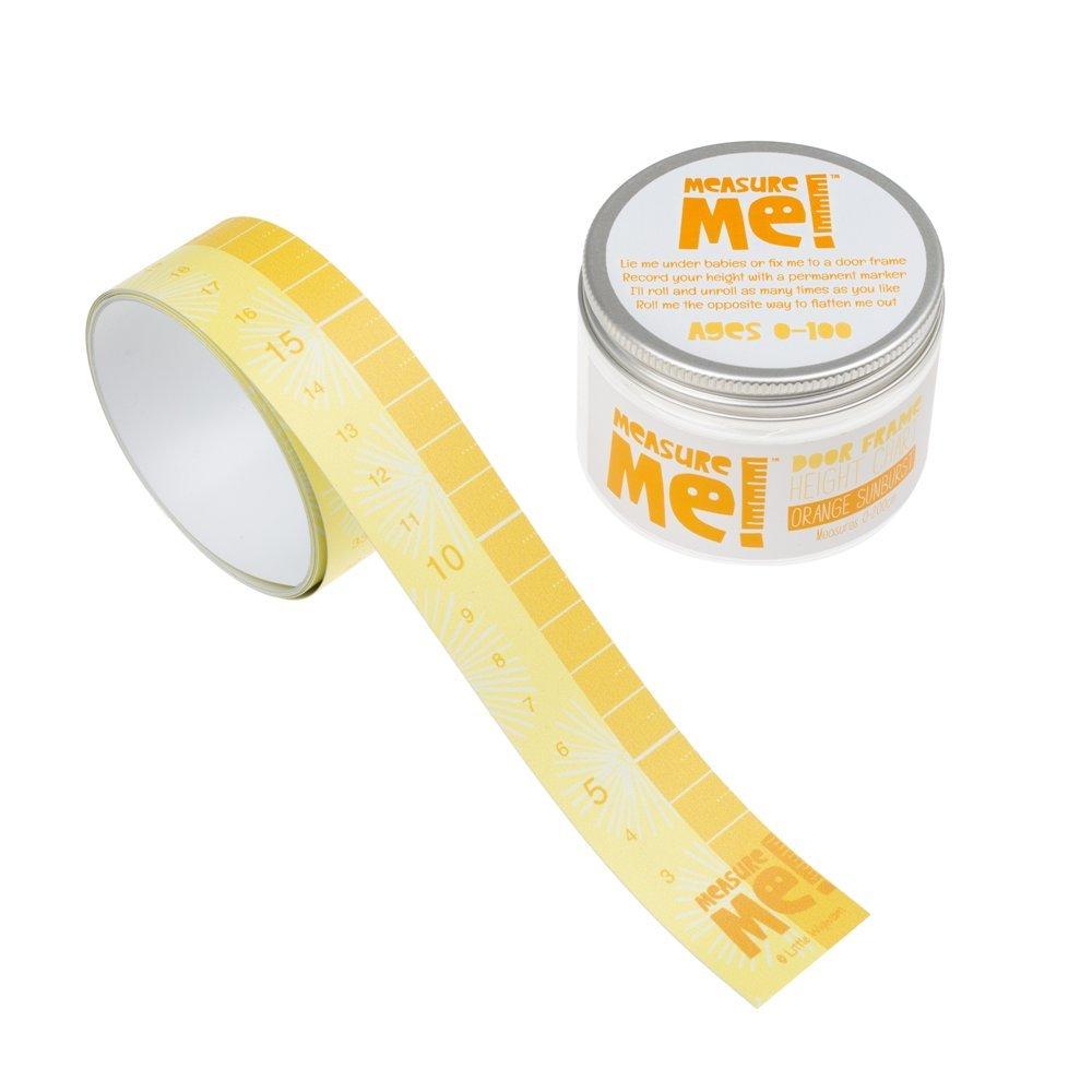 Measure Me! Roll-up Door Frame Height Chart for Boys and Girls - Orange Sunburst