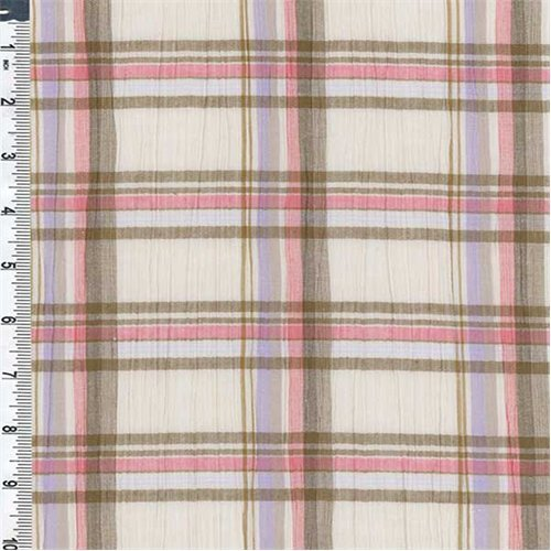 Ivory/Bronze Plaid Crinkle Gauze, Fabric By the Yard