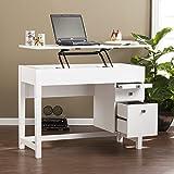 Edenton Midcentury Modern Adjustable Height Desk w/ Hidden Storage- White - 44