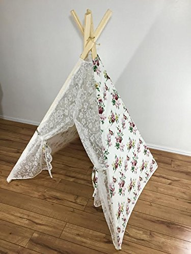 Lace teepee with floral print accents by TinyTeepees