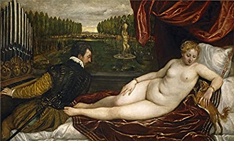 The High Quality Polyster Canvas Of Oil Painting 'Titian [Vecellio Di Gregorio Tiziano] Venus With The Organist 1550 ' ,size: 24 X 40 Inch / 61 X 101 Cm ,this Vivid Art Decorative Prints On Canvas Is Fit For Laundry Room Decor And Home Artwork And - Island Company Blue Oxford