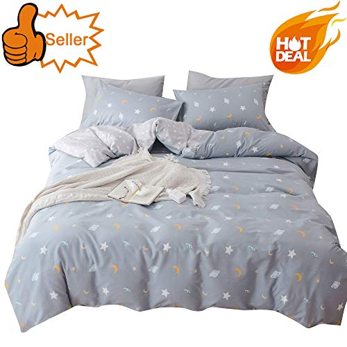 OTOB Soft Cartoon Stars Duvet Cover Set Twin for Boy Girls Toddler Children Bed 100% Cotton Light Gray,Kids Teen Bedding Sets Special Outer Space Pattern Bedding Collection Lightweight Breathable,Twin