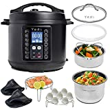 Total Package Pressure Cooker, 9-in-1 Digital Screen, with Endless Recipes, and Deluxe Accessory Kit by Yedi Houseware (6 QT)