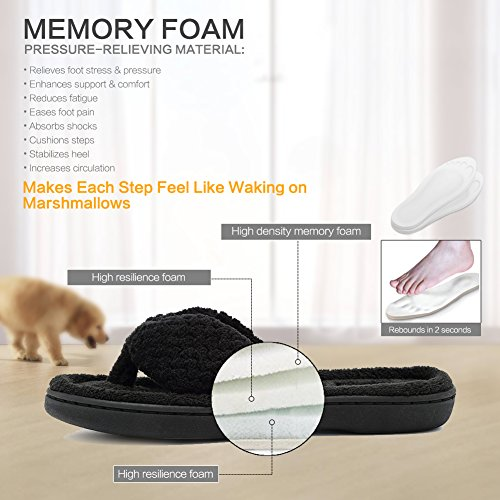 CIOR FANTINY Womens Cozy Memory Foam Spa Thong Flip Flops House Indoor Slippers Plush Gridding Velvet Lining Clog Style Black 0ihsl24cmA