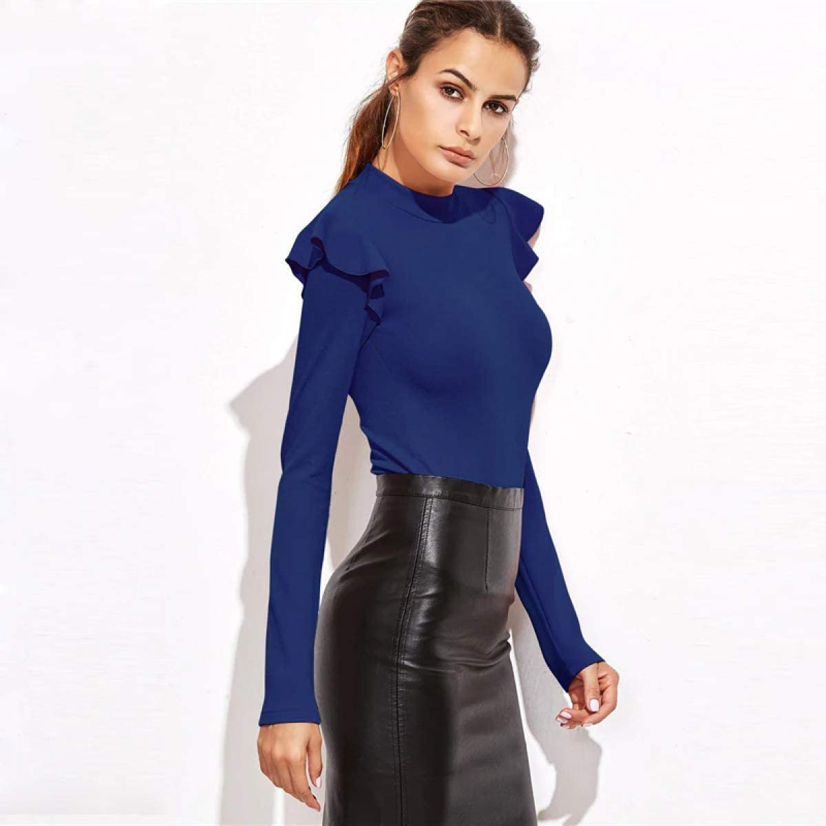 MIKI SHOP Blue Mock Neck Frill Textured Bodysuit Women Clothes Long Sleeve