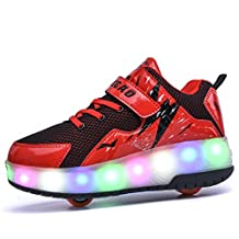 Boys Girl's Adult LED Light Roller Skate Shoes with One Wheel Flashing Sneakers