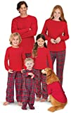 PajamaGram Family Christmas Pajamas Set - Cotton Flannel, Red, Women's, L, 12-14
