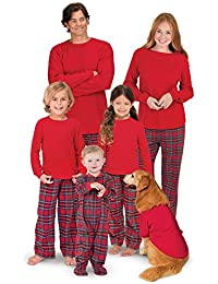 PajamaGram Red Flannel Stewart Plaid Matching Family Christmas Pajama Set