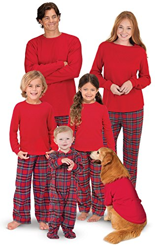 PajamaGram Family Christmas Pajamas Set - Cotton Flannel, Red, Women's, M, 8-10 -